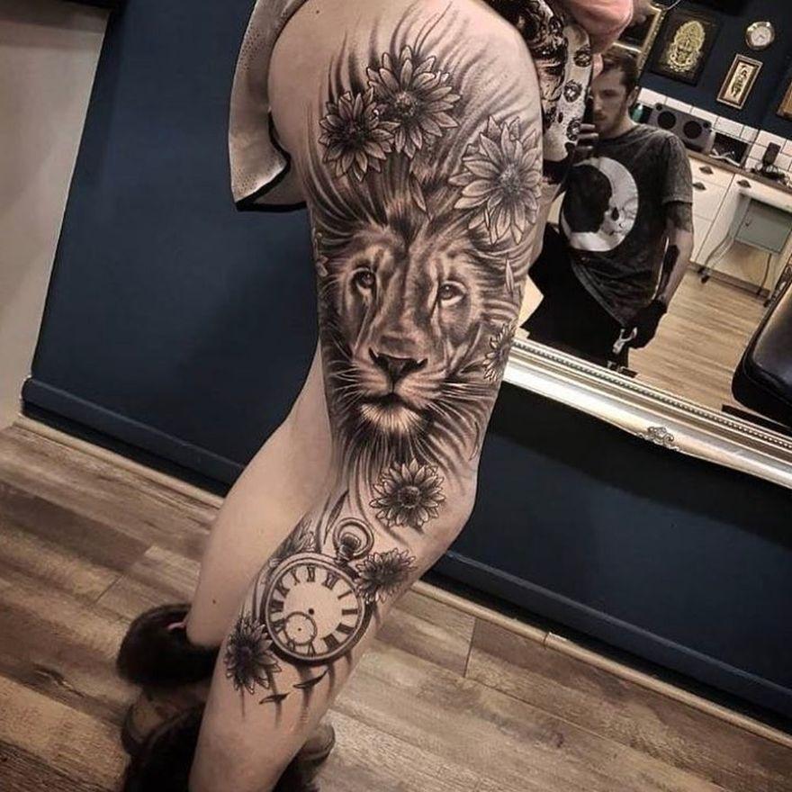 lion tattoo design for women