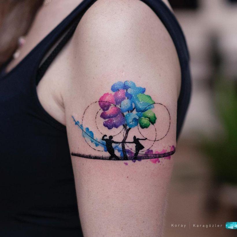 watercolor flower tattoo Koray Karagözler