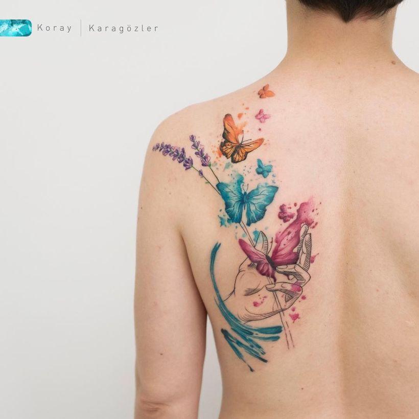 watercolor tattoos Koray Karagözler