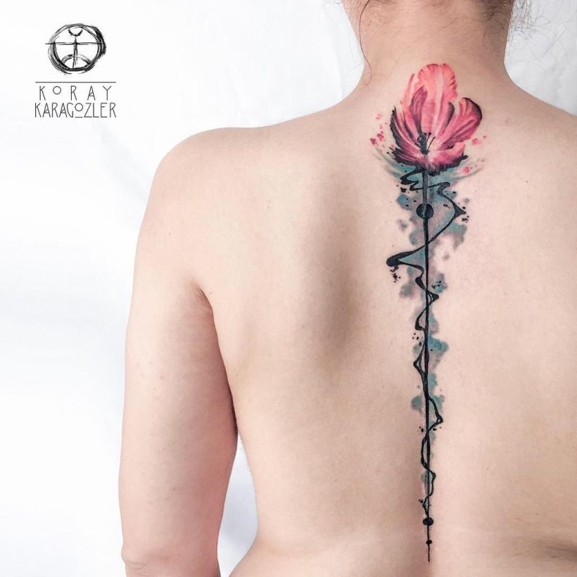 watercolor spine tattoo