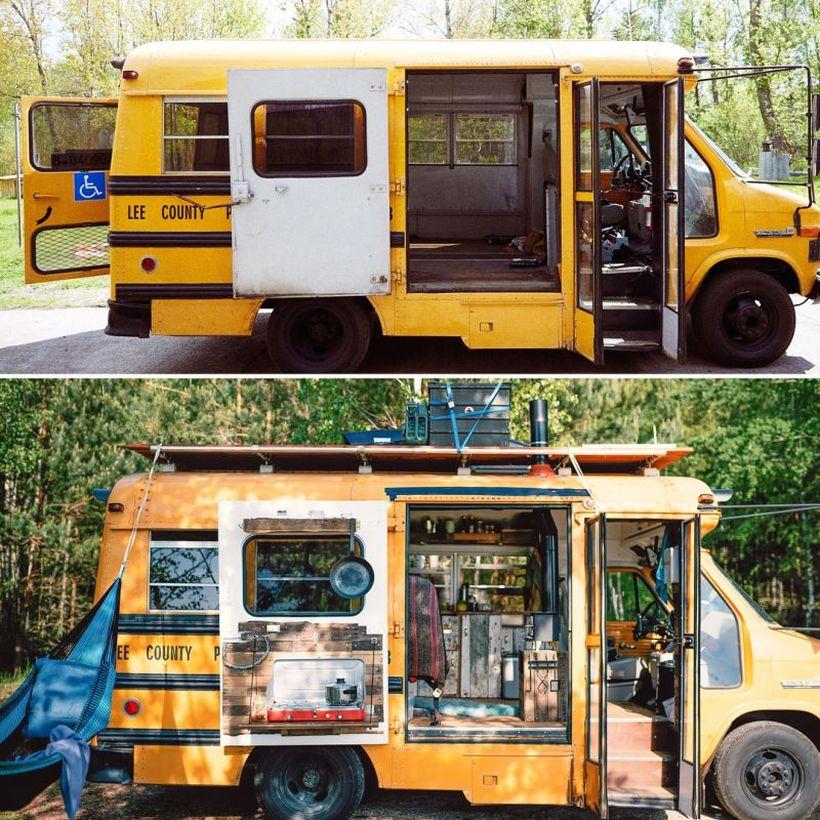 German Couple Converts a GMC Short Bus into an Adventure Van