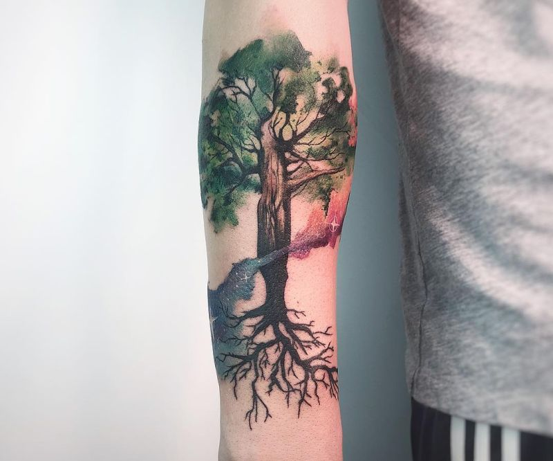 watercolor tree tattoos