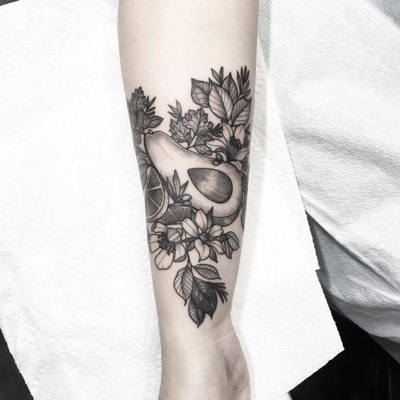 illustrative avocado tattoo