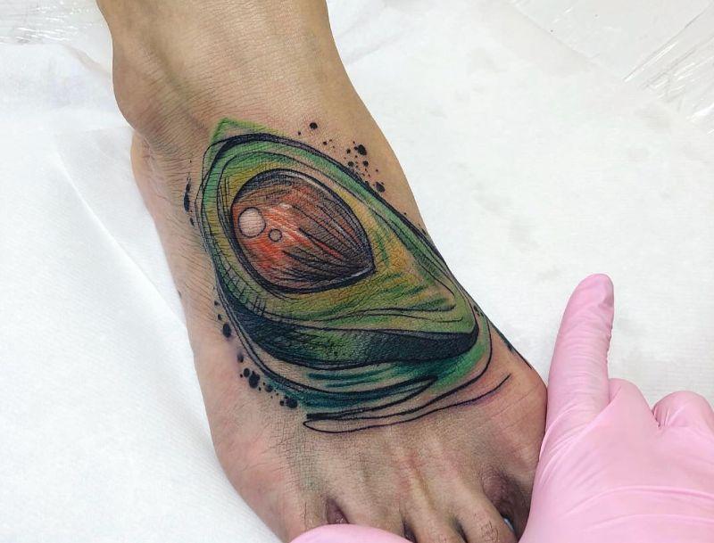 avocado watercolor tattoo