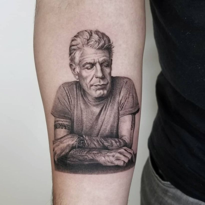 Anthony Bourdain tattoo by Zlata Kolomoyskaya 2