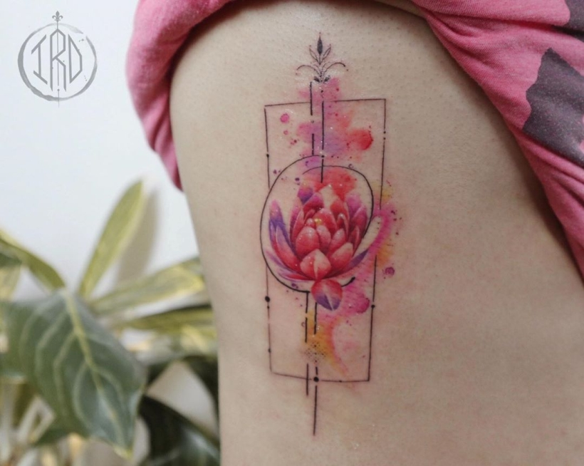 watercolor lotus tattoo
