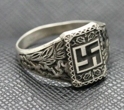 German ss ring nazi swastika silver