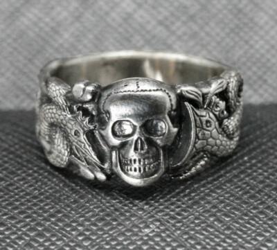 Ring SS WWII German Skull Snakes Anti partisan dark