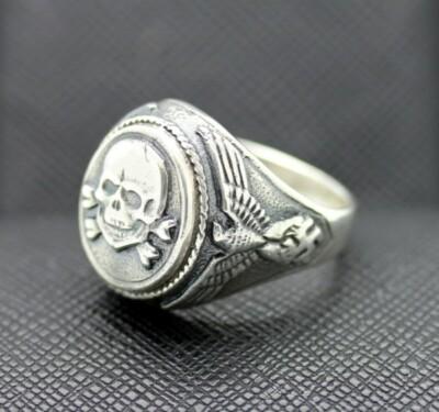 GERMAN SS TOTENKOPF silver ring WW2