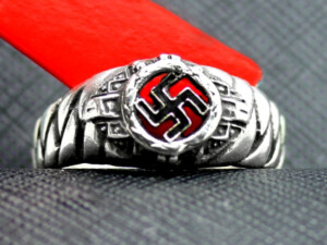 German ring swastika silver elite plait