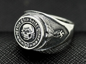 WW II GERMAN SS TOTENKOPF silver ring WW2
