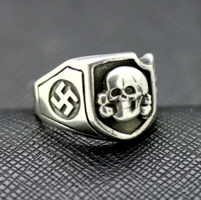 WWII SS Death Head ring German rings German skull ring swastika
