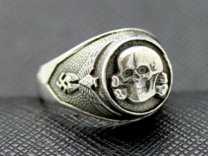 WWII SS Death Head silver ring German rings totenkopf