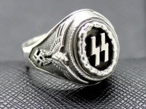 German ss ring waffen eagle swastika silver