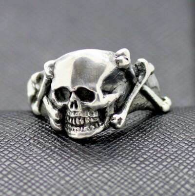 WW2 German ring waffen ss totenkopf silver skull
