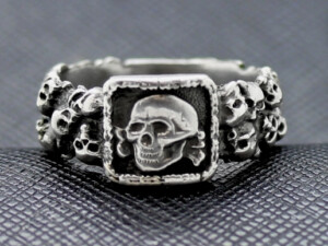 German ring ss totenkopf silver beautiful skulls
