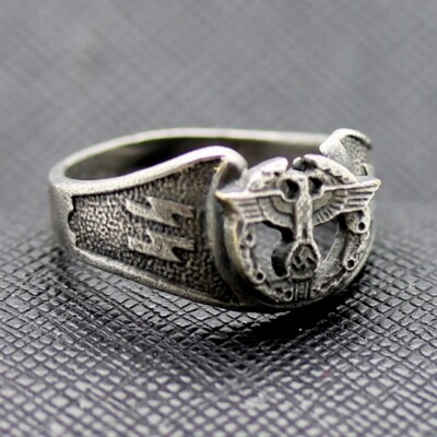 German ss ring waffen ww2 eagle swastika silver