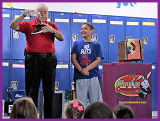 Magician, Charlie Cadabra performs shows for kids and families