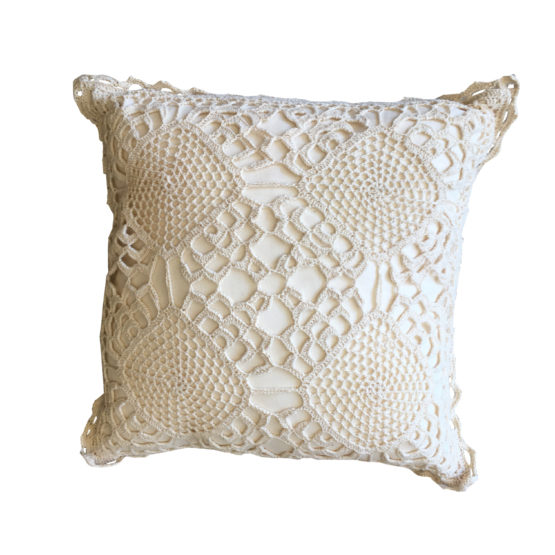 Cream Crochet Cushion