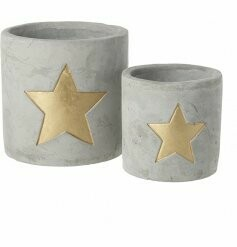 Concrete Gold Star Candle Holder Set