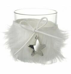 White Fluffy Silver Star Tealight Holder