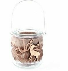 Furry Reindeer Hanging Glass Tealight Holder