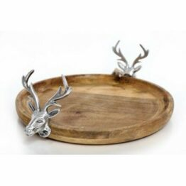 Silver Reindeer Natural Wood Serving Tray