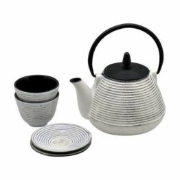 black and white iron metal teapot set