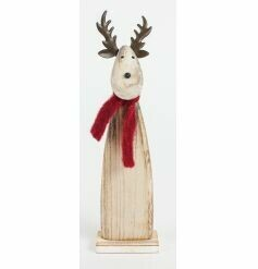 wooden reindeer with scarf