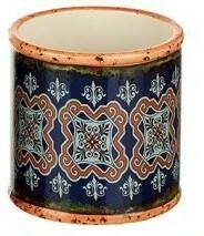 Small Blue and Orange Bohemian Ceramic Planter