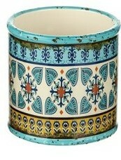 Small Light Blue Bohemian Ceramic Planter