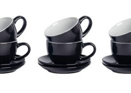 Set of 6 Black Cappuccino Cups