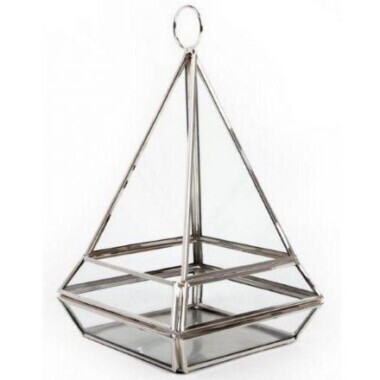 Silver Pyramid Candle Holder