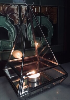 Silver Glass Pyramid Candle Holder