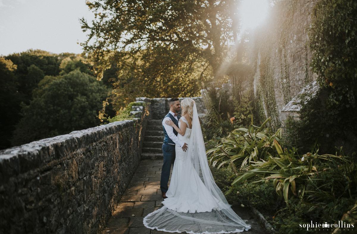 bride and groom in st donat's garden