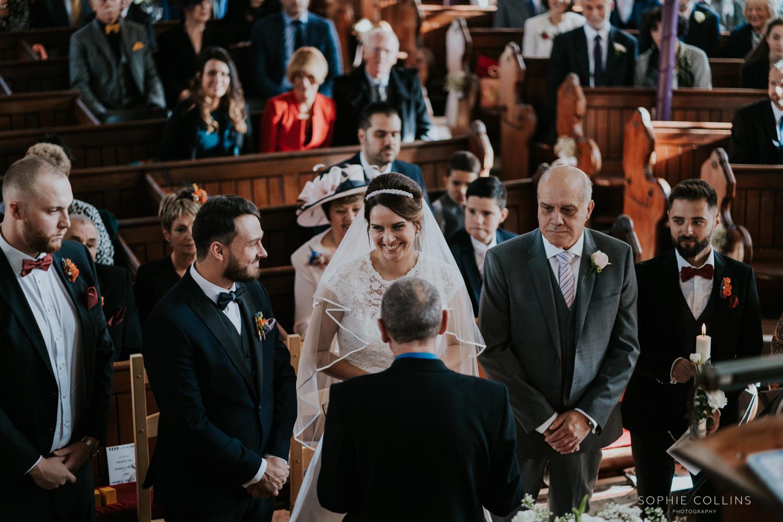 groom bride and dad