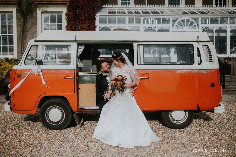 bride groom and camper van