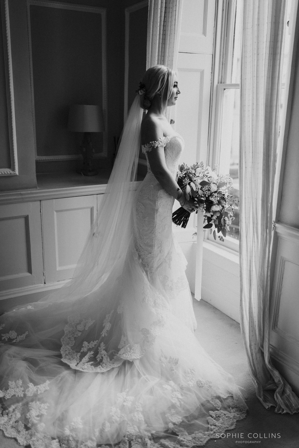 bride looking out the window