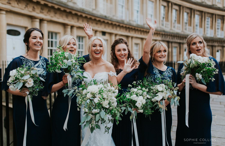 bridesmaids waving