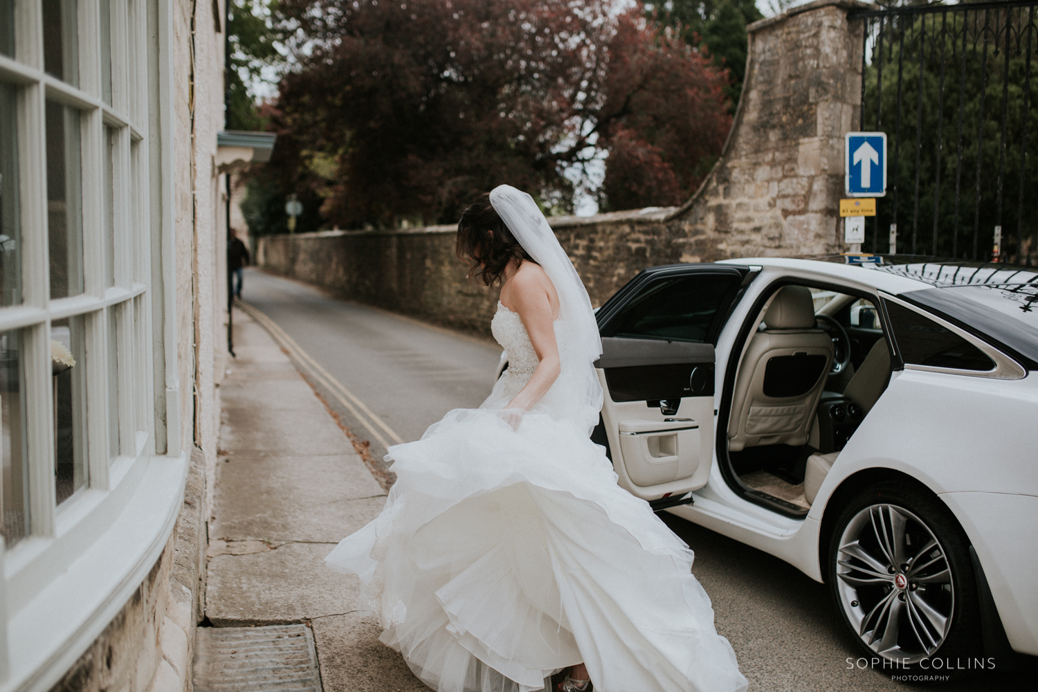 bride getting out the car