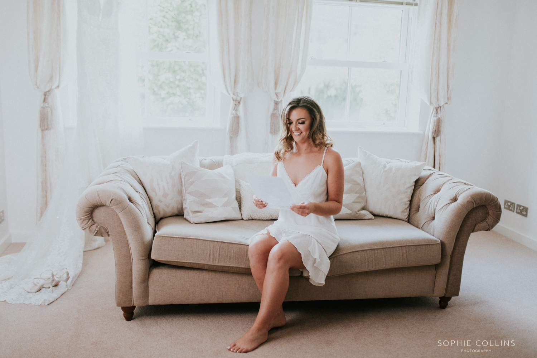 bride reading a note