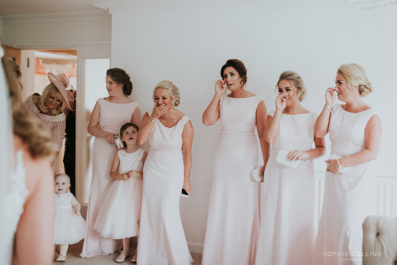 dress reveal to bridesmaids