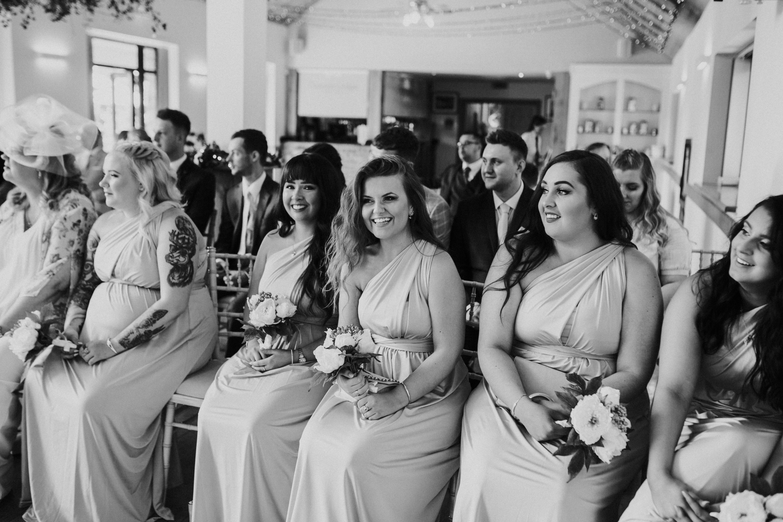 bridesmaids smiling