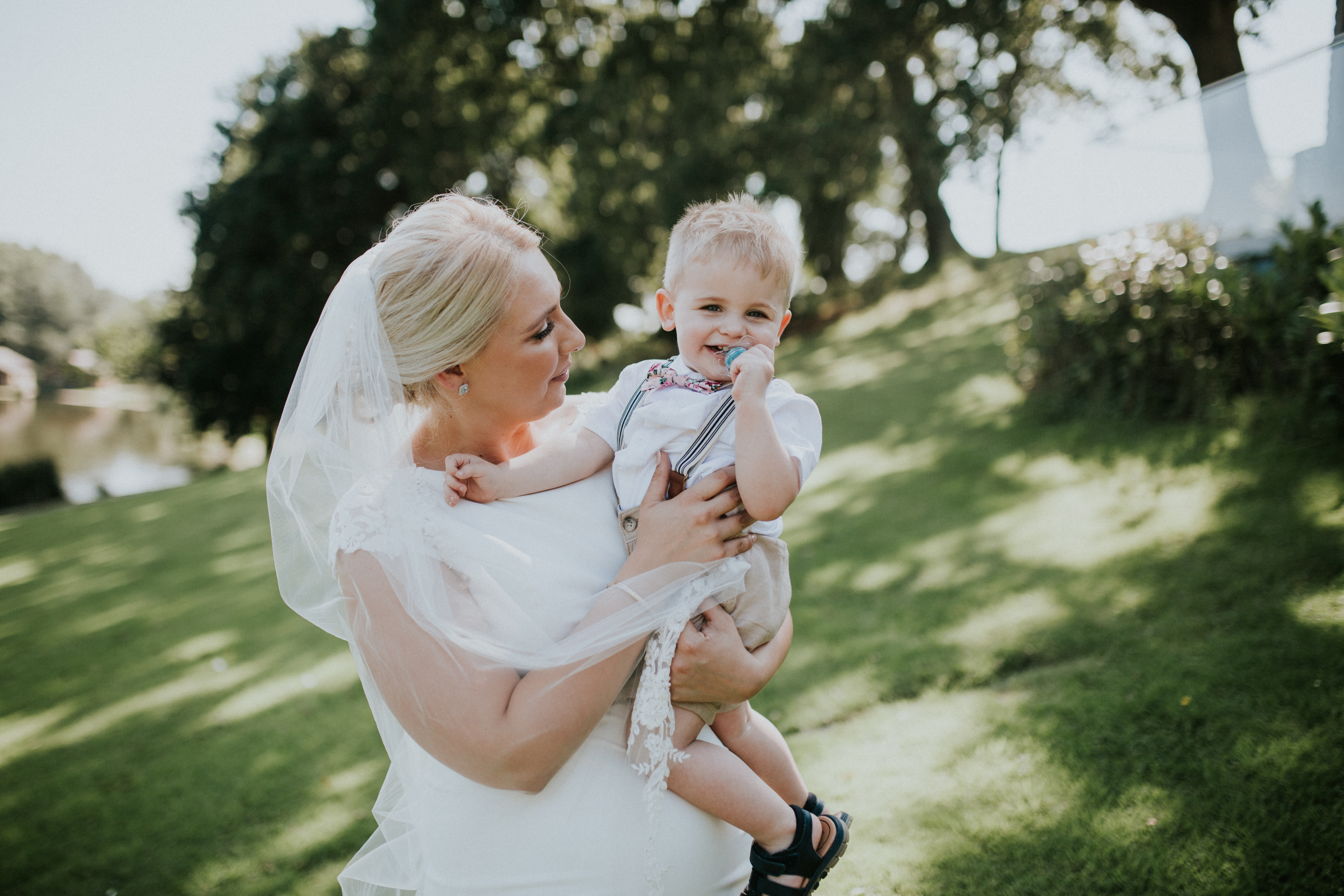 bride and little boy