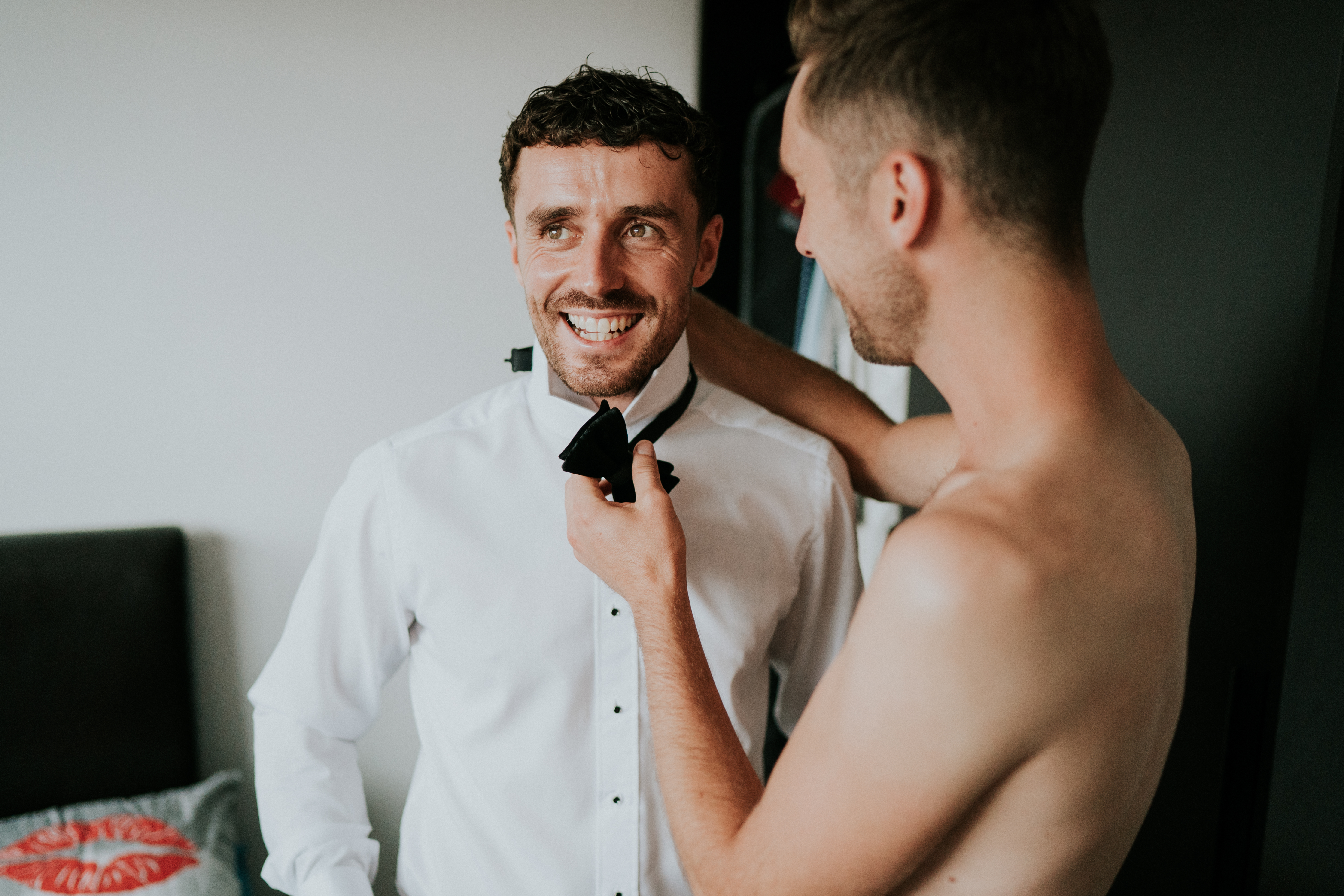 putting on dickie bow