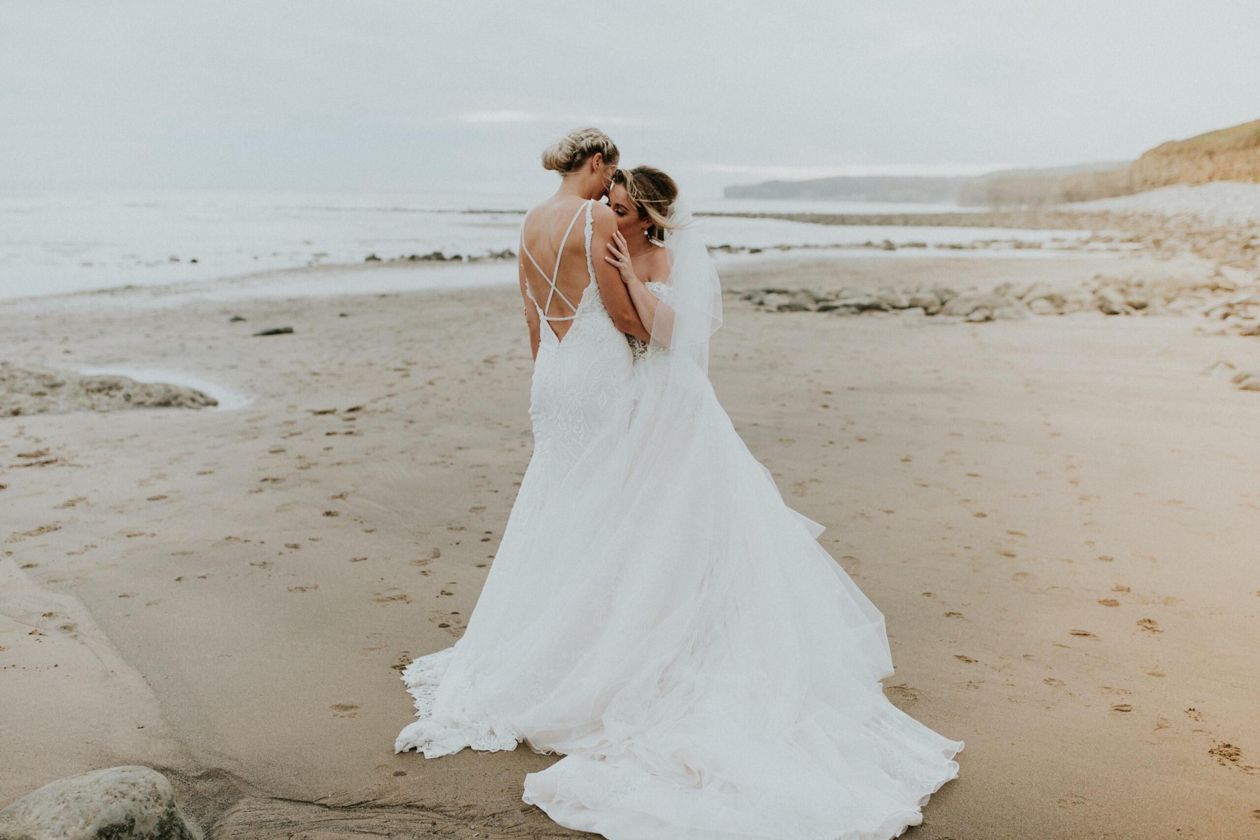 brides portraits down the beach