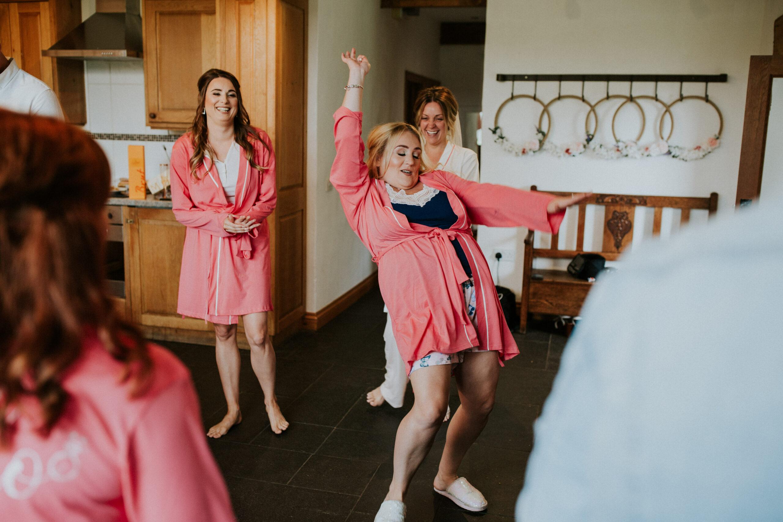 bride dancing around the room