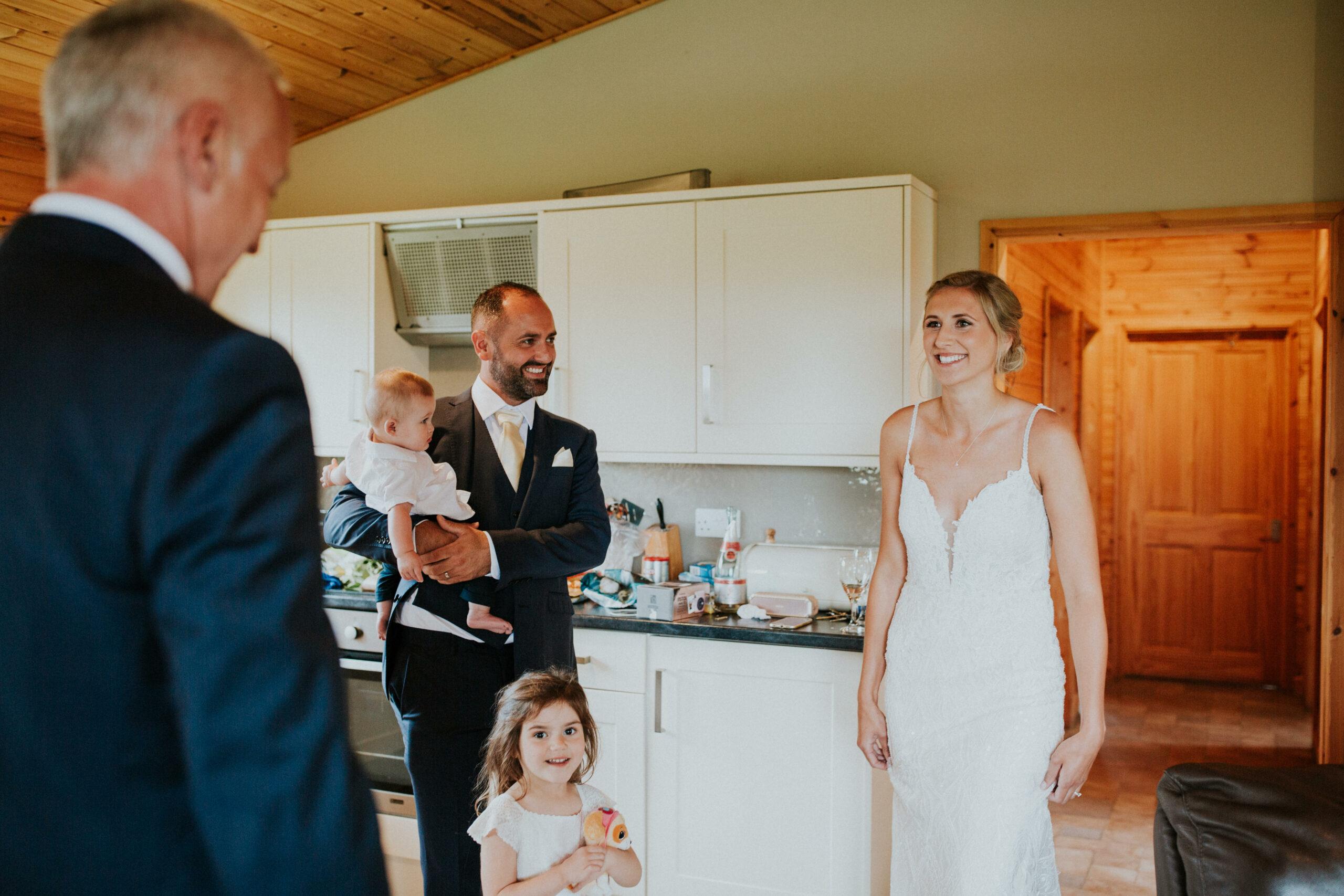 brides dad sees bride