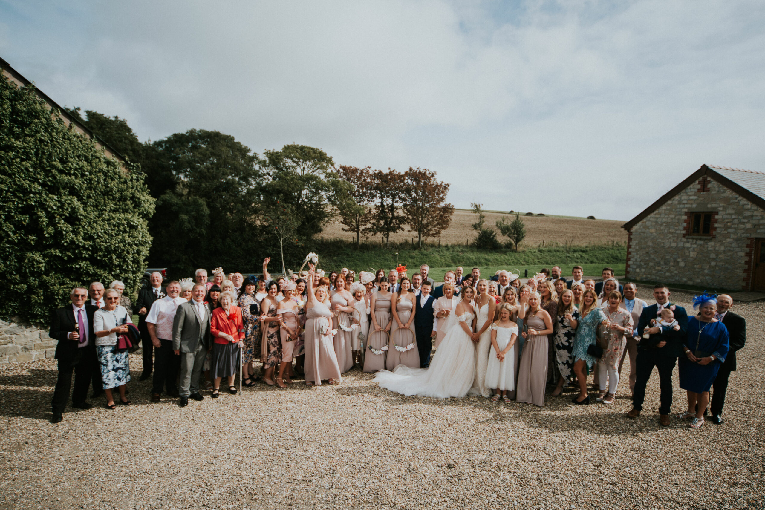 group shot of the whole wedding party