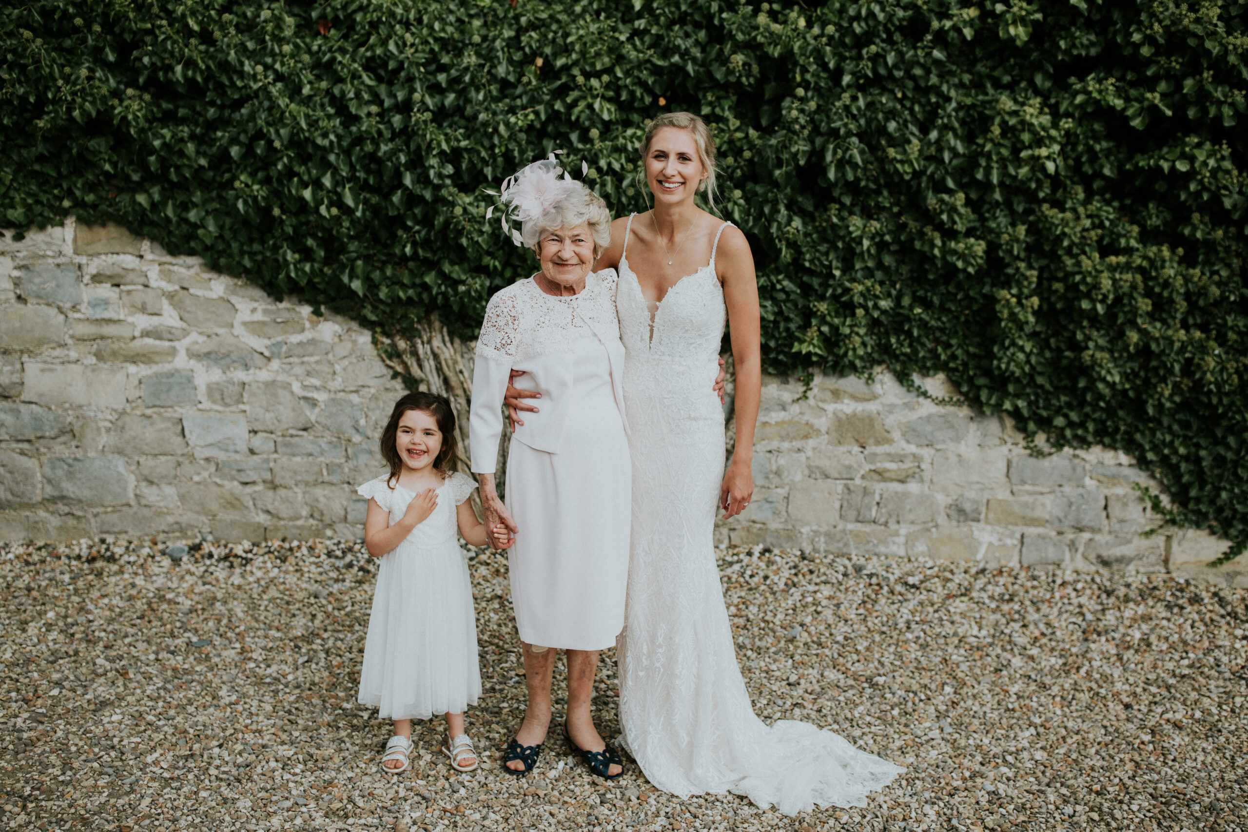 bride with her nan and niece